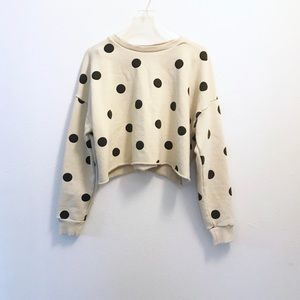 Zara Black/Cream Polk's Dot Cropped Sweatshirt